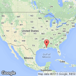 Map View Of Louisiana Where New Orleans Is Situated